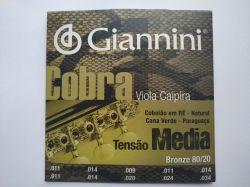 Jogo de Cordas Para Viola Giannini, Bronze 80/20, Tensão Média
