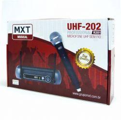 Microfone Sem Fio MXT, Modelo UHF 202 / R201